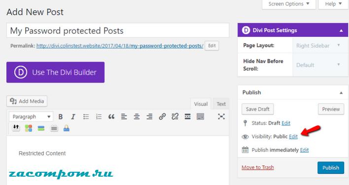 Как защитить паролем один пост WordPress