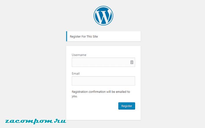 URL-адрес регистрации WordPress