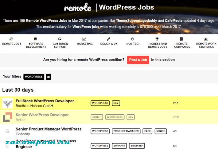 Remote OK WordPress Board